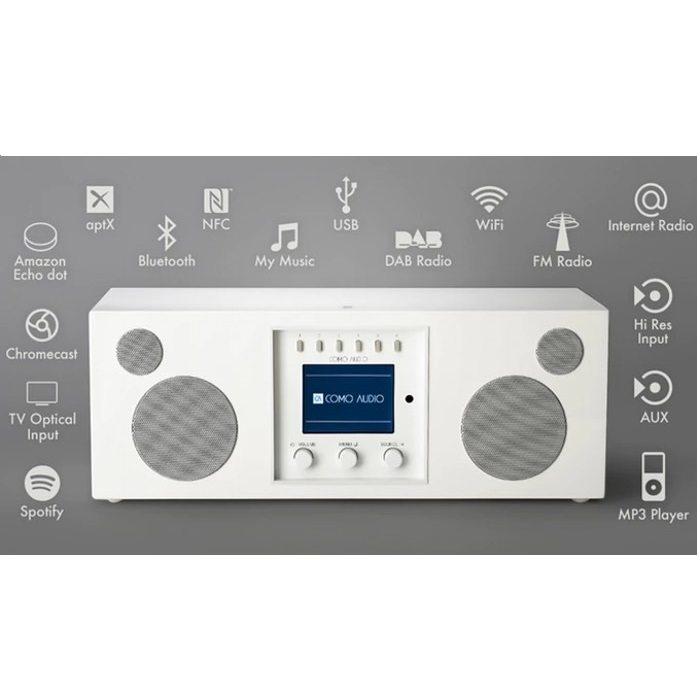 Como Audio DUETTO Bluetooth radio and stereo speaker white